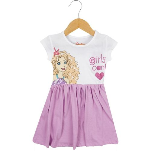 Icable Girls Midi/Knee Length Casual Dress(Purple, Half Sleeve)