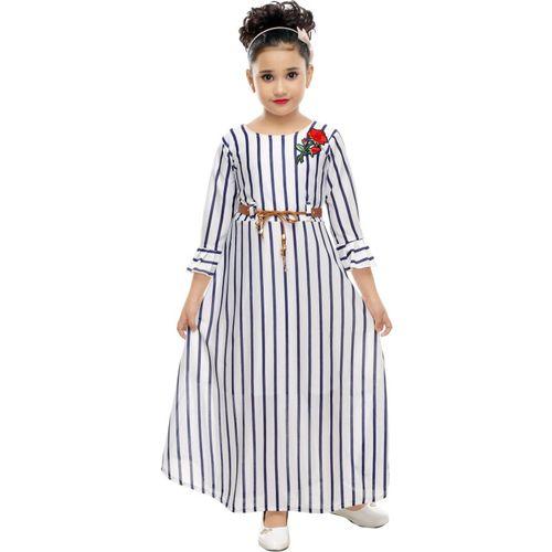 VASTRA FAB Girls Maxi/Full Length Party Dress(White, 3/4 Sleeve)
