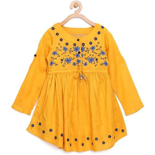 Bella Moda Girls Midi/Knee Length Casual Dress(Yellow, Full Sleeve)