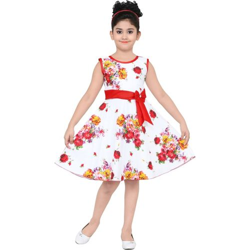 ULTRA TREND Girls Midi/Knee Length Casual Dress(White, Sleeveless)