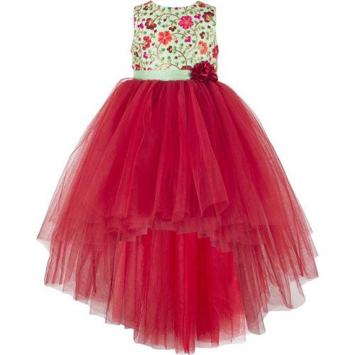 Toy Balloon Kids Girls Midi/Knee Length Party Dress(Maroon, Sleeveless)