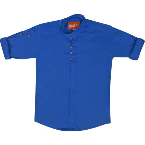 BASE 41 Boys Solid Casual Blue Shirt