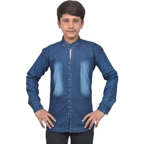 Zolario Boys Solid Casual Blue Shirt