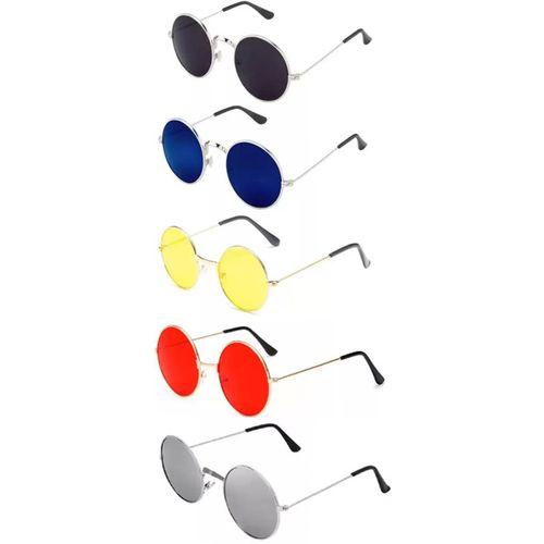 Elligator Round Sunglasses(Red, Yellow, Black, Silver, Blue)