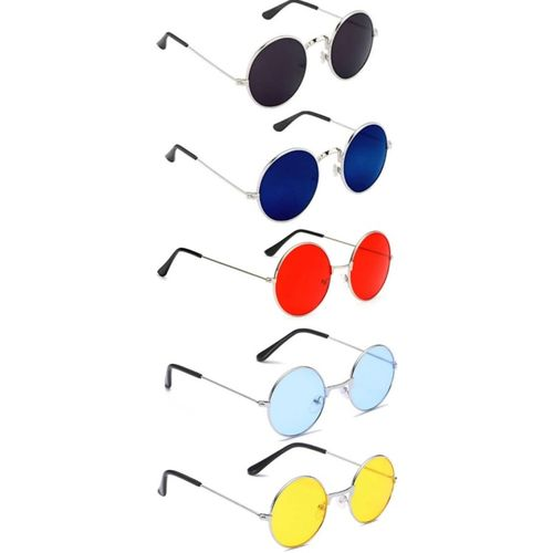 shah collections Round Sunglasses(Red, Black, Yellow, Blue, Blue)