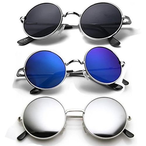 shah collections Round Sunglasses(Black, Silver, Blue)