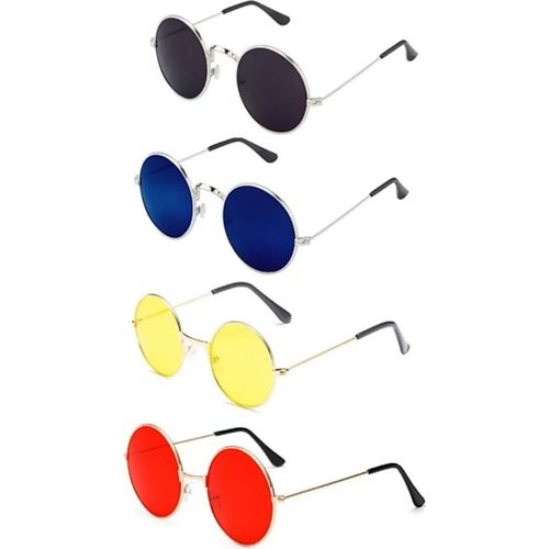 shah collections Round Sunglasses(Blue, Black, Yellow, Red)