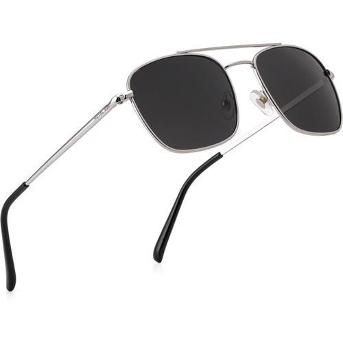 Royal Son Rectangular Sunglasses(Black, Silver)