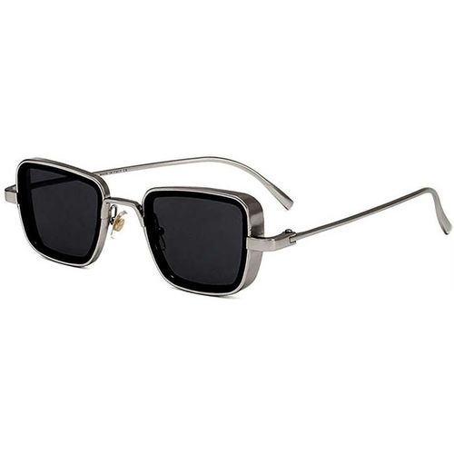 Trendy Glasses Silver & Black metal Rectangular Sunglasses