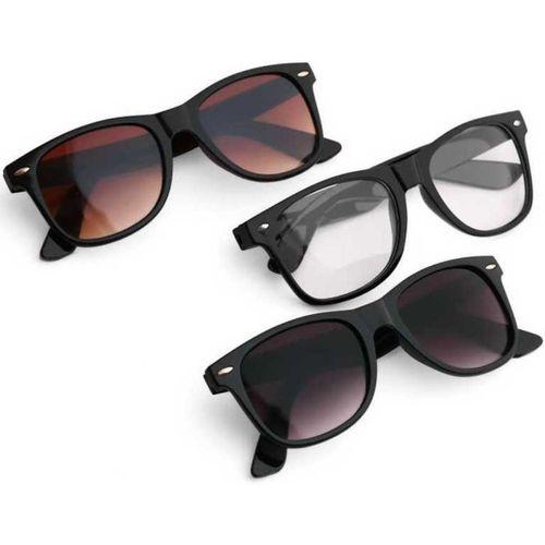 SRPM Wayfarer Sunglasses(Clear, Black, Brown)