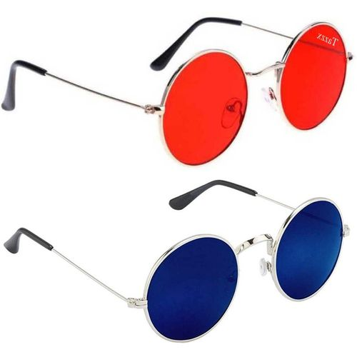 Tazzx Round Sunglasses(Red, Blue)
