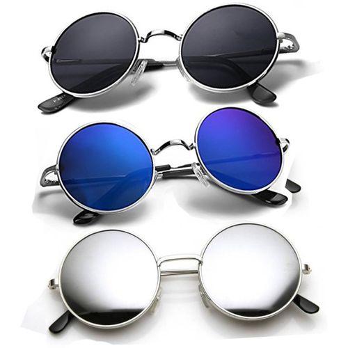 Elligator Round Sunglasses(Black, Blue, Silver)