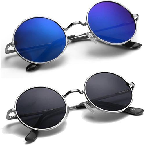 Phenomenal Round Sunglasses(Blue, Black)