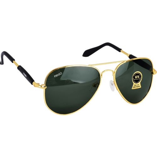 PIRASO Aviator Sunglasses(Golden, Black)