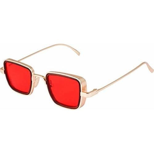ROZZETTA CRAFT Retro Square Sunglasses(Red)