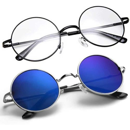 hipe Round Sunglasses(Clear, Blue)