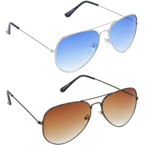 MAXX Aviator Sunglasses(Blue, Brown)