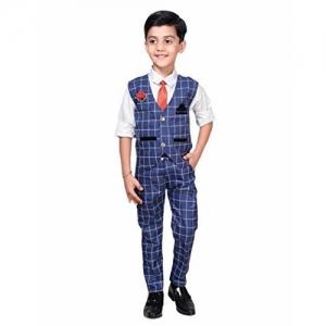 AHHAAAA Kids Blue Waistcoat, Shirt, Tie and Trouser Set for Boys
