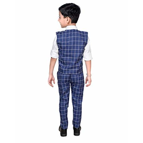 AHHAAAA Kids Blue Waistcoat, Shirt, Tie and Trouser Set for Boys