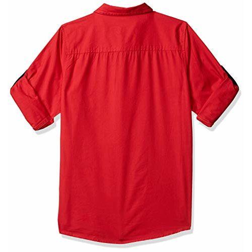 Amazon Brand - Jam & Honey Red Cotton Plain Regular fit Shirt