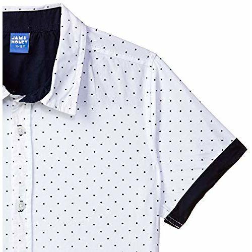 Amazon Brand - Jam & Honey Boy's Tribal Regular fit Cotton Shirt (SS19SRT353_White 1 6-7 Years)