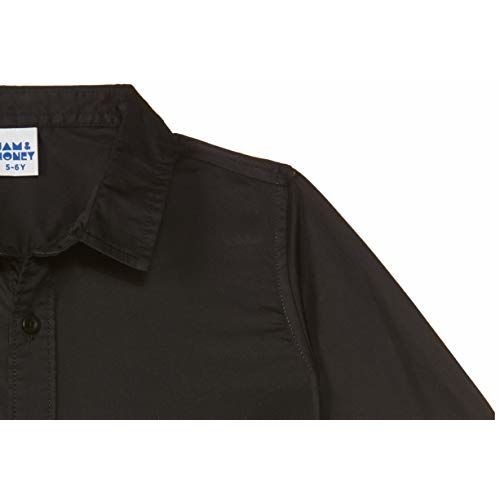Amazon Brand - Jam & Honey Boy's Plain Regular fit Cotton Shirt (JHAW19BTSHR2007_Black 4-5 Years)