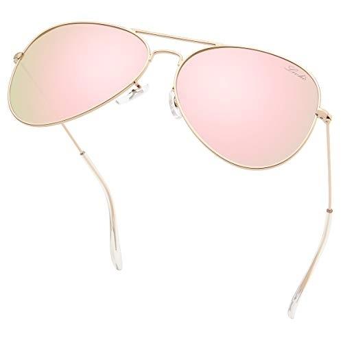livho Classic Polarized Aviator Sunglasses UV Mirrored Lens Metal Retro Shades for Women Men (Black Grey Lens/Black Frame, 58)