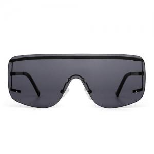 JIM HALO Oversized Shield Sunglasses Flat Top Gradient Lens Rimless Eyeglasses Women Men (Black/Grey)
