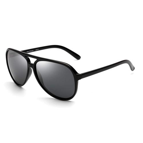 JIM HALO Polarized Aviator Sunglasses Men Women Oversize Plastic Driving Glasses (Black Frame/Polarized Grey Lens)