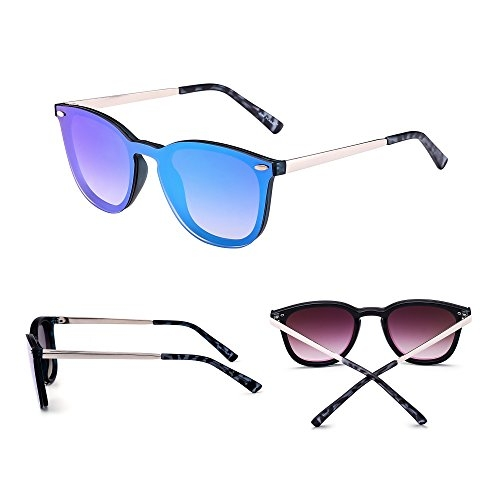 JIM HALO Trendy Rimless Sunglasses Mirror Reflective Sun Glasses for Women Men (Shiny Black/Mirror Sliver)