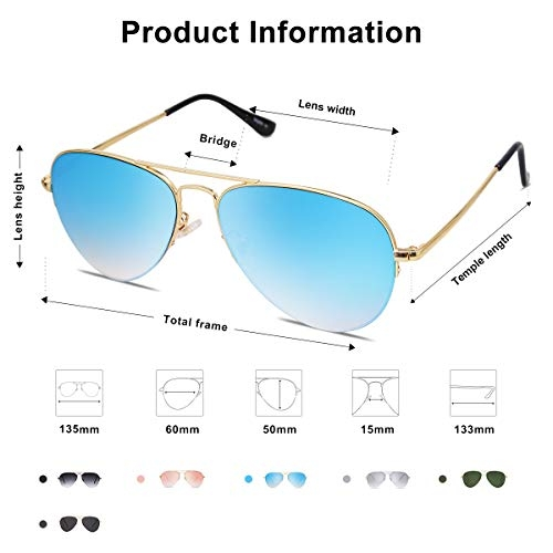SOJOS Classic Aviator Mens Womens Sunglasses Metal Frame Mirrored Lens SJ1106 with Silver Frame/Silver Mirrored Lens