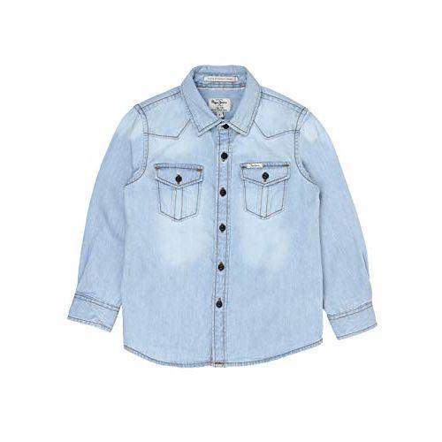 Pepe Jeans Boy's Plain Regular fit Shirt (PB301785CD7_Denim-Medium Wash 12-13 Years)