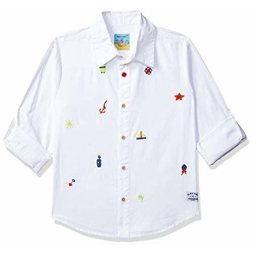 nauti nati Boy's Plain Regular fit Shirt (NN281-728B_White 6-7 Years)