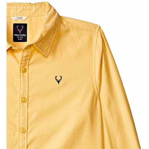 Allen Solly Junior Boy's Plain Regular fit Shirt (ABSF31901789_Yellow 3-4 Years)