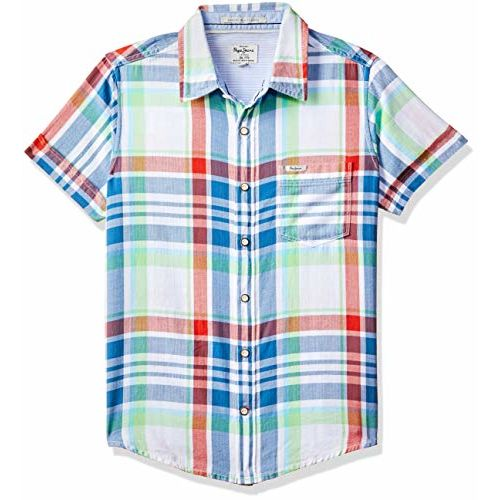 Pepe Jeans Boy's Checkered Regular fit Shirt (PB301766_Red 12-13 Years)
