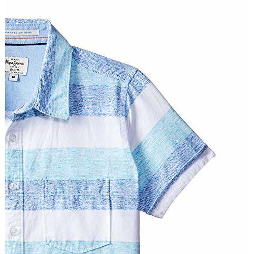 Pepe Jeans Boy's Striped Regular fit Shirt (PB301799_Aqua 6-7 Years)