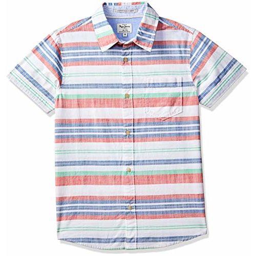 Pepe Jeans Boy's Striped Regular fit Shirt (PB301787_Multi 12-13 Years)
