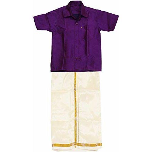 SJS King Boy's Shirt/Genxt Dhoti Regular Fit (Dark Purple, 7-8 Years)