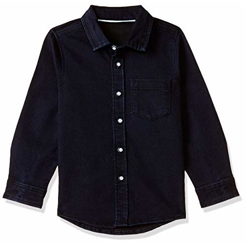 Marks & Spencer Boy's Plain Regular fit Shirt (4838L_Dark Denim 4-5 Years)