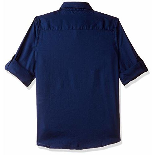 US Polo Association Boy's Plain Regular fit Shirt (UKSH6334_Dk Blue 6-7 Years)