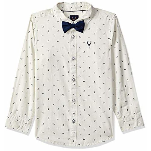 Allen Solly Junior Boy's Animal Print Regular fit Shirt (ABSF31901802_Yellow 5-6 Years)