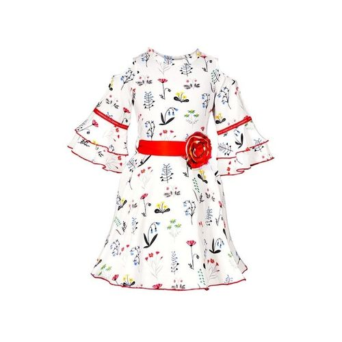 NAUGHTY NINOS Floral Print A-line Dress with Tiered Sleeves