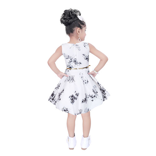 Clobay Scuba flower pinted frock for girls