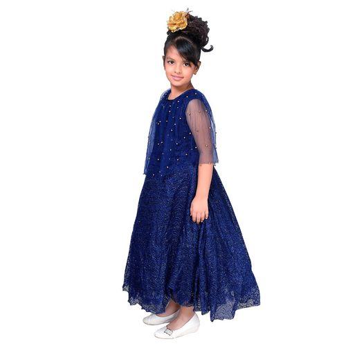 Sky Heights Girls Navy Net Party Wear Frock Pochu Gown