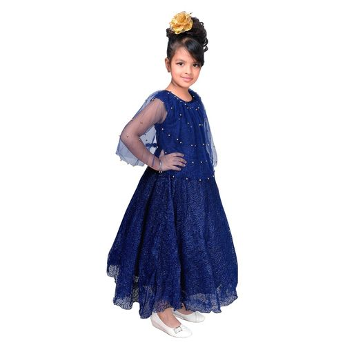 Sky Heights Girls Navy Net Party Wear Frock Pochu Gown