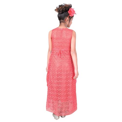 Sky Heights Girls Pink Net Party Wear Gown Maxi