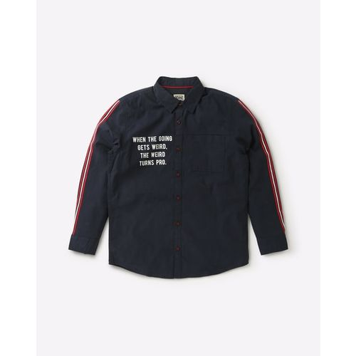 YB DNMX Typographic Print Shirt with Patch Pocket