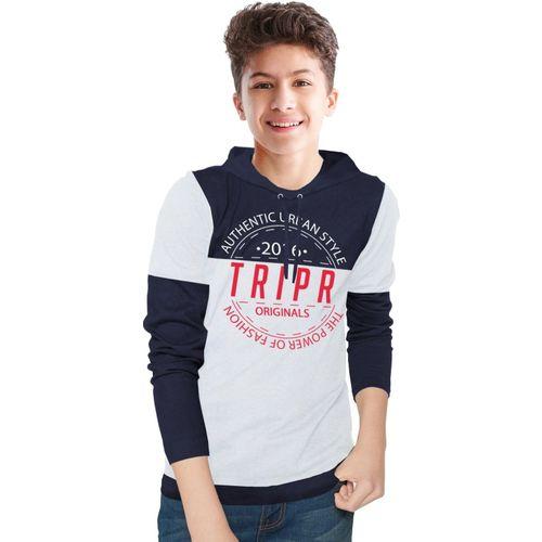 Tripr Boys Printed Cotton Blend T Shirt(Dark Blue, Pack of 1)