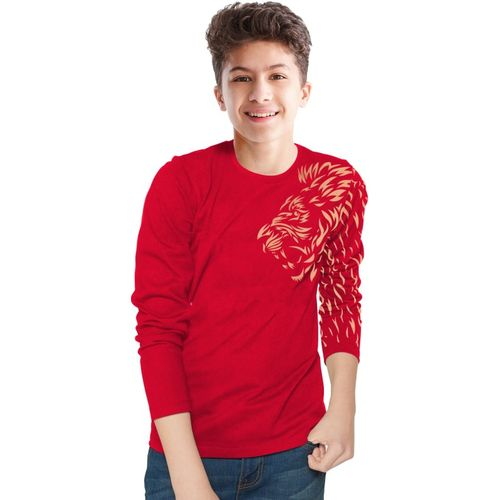 Tripr Boys Printed Pure Cotton T Shirt(Red, Pack of 1)