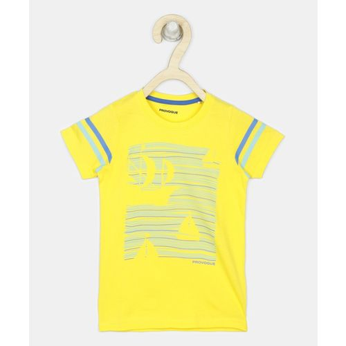 Provogue Boys Printed Cotton Blend T Shirt(Yellow, Pack of 1)